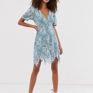 Mini Button Through Lace Tea Dress